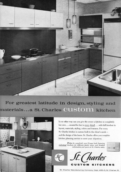 st charles introduced flush wood fronts on steel cabinets the beginning of the of concept
